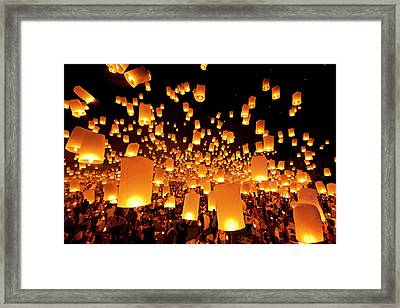 Hot Air Fire Lantern Framed Print by Daniel Osterkamp