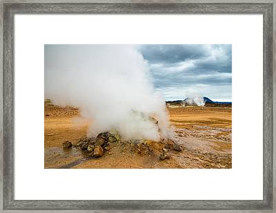 Hot And Steamy Fumarole In Namafjall Iceland Framed Print by Matthias Hauser