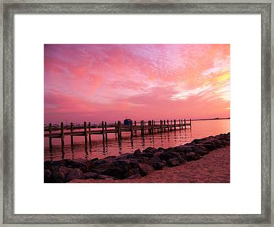Hot Bay Sunset Framed Print by Trish Tritz
