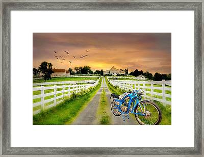 Hot Bike On The Farm Framed Print