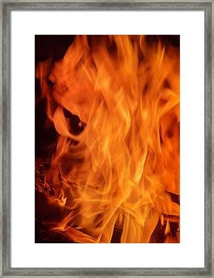Hot Blazing Fire Framed Print by Garry Gay