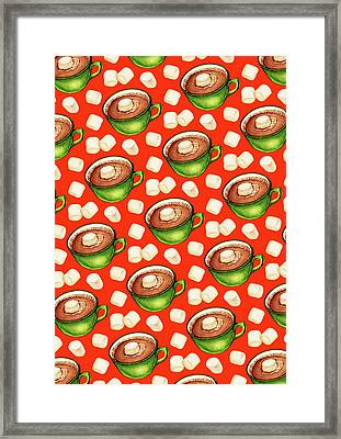 Hot Cocoa Pattern Framed Print by Kelly Gilleran