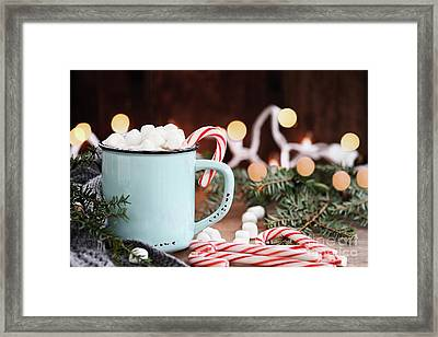 Hot Cocoa With Marshmallows And Candy Canes Framed Print