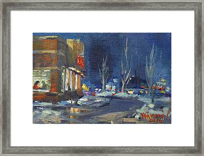 Hot Coffee In Cold Winter At Tim's With Viola Framed Print by Ylli Haruni