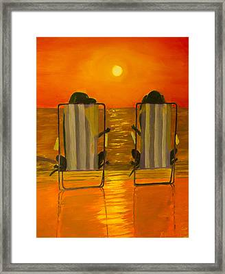 Hot Day At The Beach Framed Print by Roger Wedegis