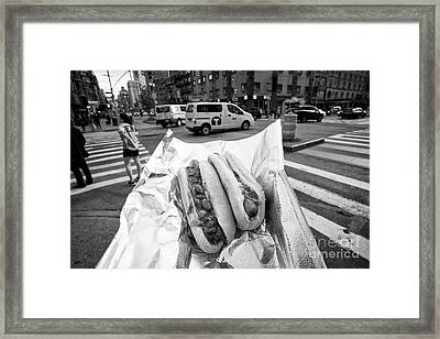 hot dog and chilli dog street food in New York City USA Framed Print