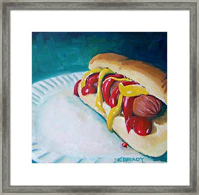 Hot Dog Framed Print by Chelsie Brady