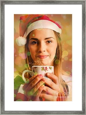 Hot Drinks At Christmas Framed Print