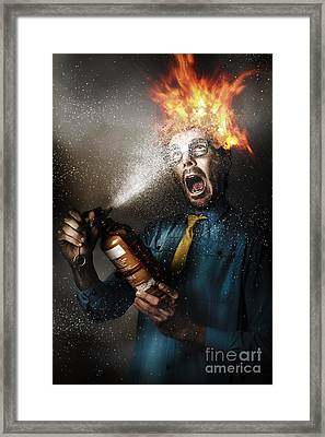 Hot Headed Nerd Businessman Playing With Fire Framed Print by Jorgo Photography - Wall Art Gallery