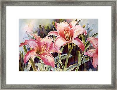 Hot Lillies Framed Print by Roxanne Tobaison