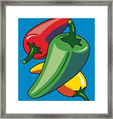 Hot Peppers On Blue Framed Print