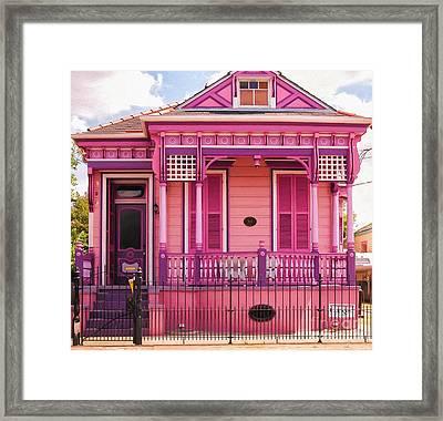 Hot Pink New Orleans Cottage Framed Print by Kathleen K Parker