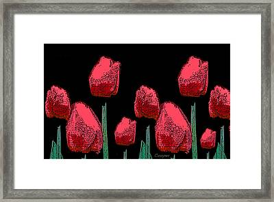 Hot Red Tulips Framed Print