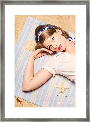 Hot Retro Pinup Girl Lying On Beach In Australia Framed Print by Jorgo Photography - Wall Art Gallery