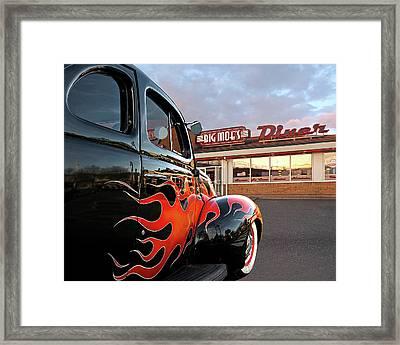 Hot Rod At The Diner At Sunset Framed Print