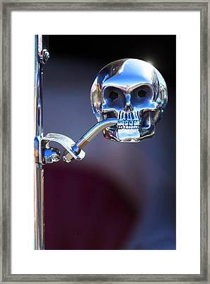Hot Rod Skull Rear View Mirror Framed Print by Jill Reger