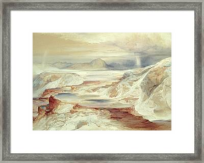 Hot Springs Of Gardiner's River, Yellowstone Framed Print by Thomas Moran