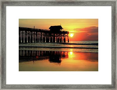 Hot Sunrise Over Cocoa Beach Pier  Framed Print