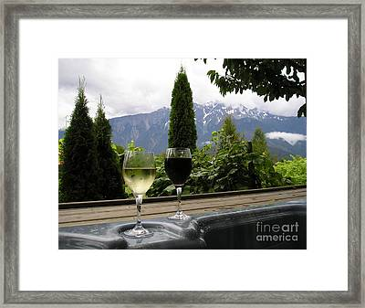 Hot Tub And Wine Framed Print