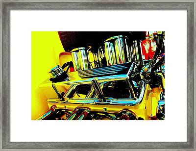 Hot Yellow Chevy Motor Framed Print by Louis Meyer