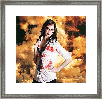 Hot Zombie Business Woman On Fire Background Framed Print by Jorgo Photography - Wall Art Gallery