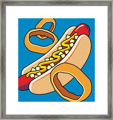 Hotdog On Blue Framed Print by Ron Magnes