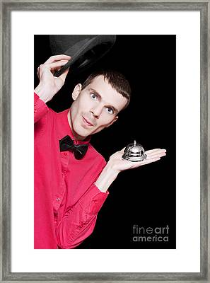 Hotel Bell Boy Welcoming Guests With Good Service Framed Print by Jorgo Photography - Wall Art Gallery