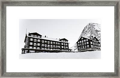 Hotel Bellevue Des Alpes And Eiger Nordwand Framed Print by Frank Tschakert
