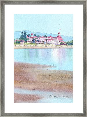 Hotel Del Coronado Low Tide Framed Print