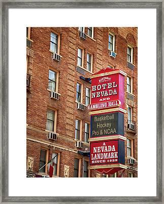 Hotel Nevada And Gambling Hall Framed Print by David Millenheft