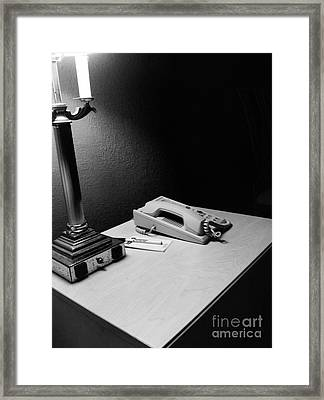 Hotel Night Stand Framed Print by WaLdEmAr BoRrErO
