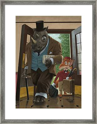 Hotel Rhino And Porter Fox Framed Print by Martin Davey