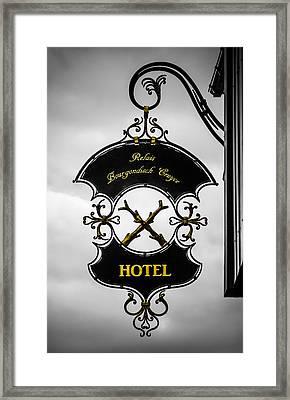 Hotel Sign In Bruges Framed Print