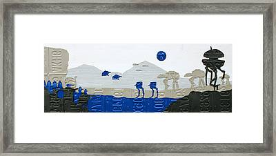 Hoth Star Wars Scene Panorama Made Using Vintage Recycled License Plates On White Wood Plank Framed Print by Design Turnpike