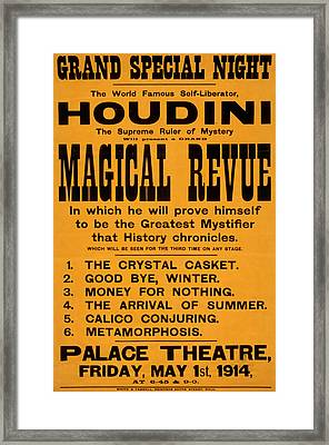 Houdini Magical Review Framed Print by David Wagner