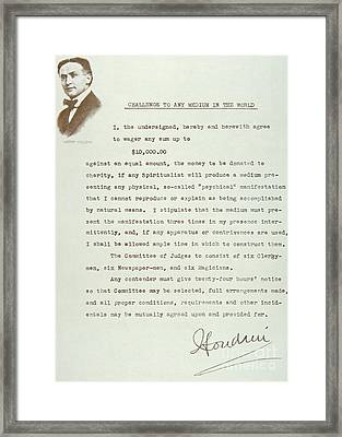 Open Letter From Houdini Challenging Any Medium In The World Framed Print