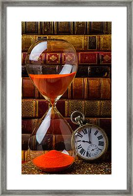 Hourglass And Pocket Watch Framed Print