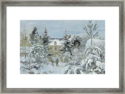 House At Montfoucault Framed Print by Camille Pissarro