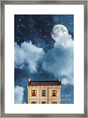House At Night With Moon And Stars Framed Print