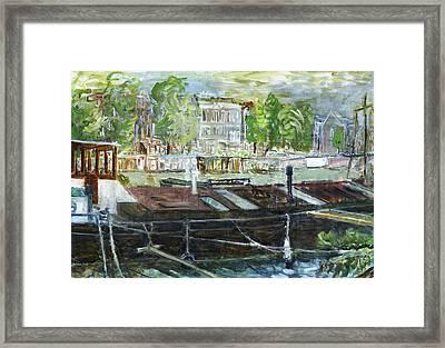 House Boat In Amsterdam Framed Print by Joan De Bot