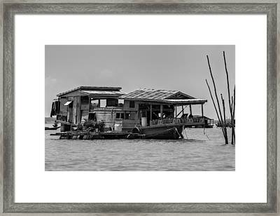 House Boat In Asia Framed Print