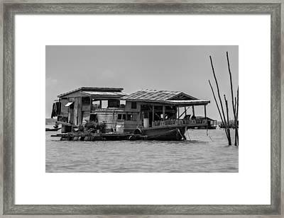 House Boat In Asia Framed Print by Georgia Fowler