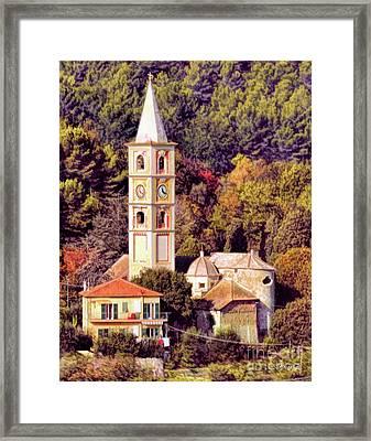 House, Church And Castle Framed Print