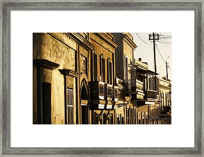 House Facades Gilded By The Setting Sun Old San Juan Puerto Rico Framed Print by George Oze