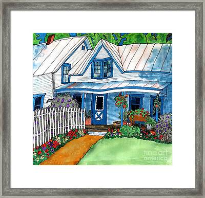 House Fence And Flowers Framed Print by Linda Marcille