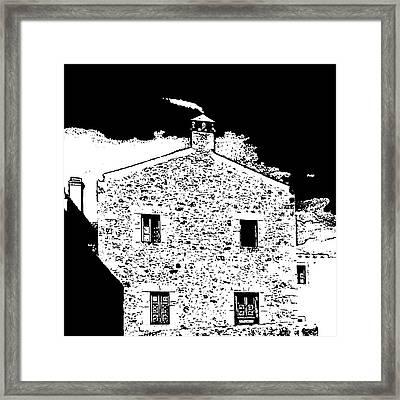 House In Monemvasia, Greece. Linocut Framed Print
