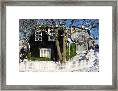 House In Reykjavik Iceland In Winter Framed Print by Matthias Hauser