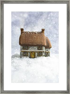 House In Snow Framed Print by Amanda Elwell