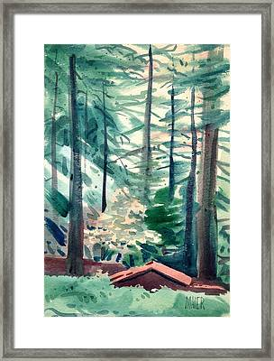 House In The Redwoods Framed Print by Donald Maier