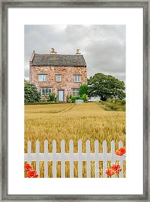 House In Wheat Field Framed Print by Amanda Elwell